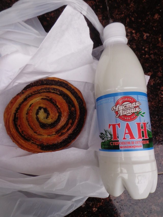 Moscow, Russia - Cucumber and Dill Yoghurt Drink (Armenian Tan) & Poppy Pastry (Danish)