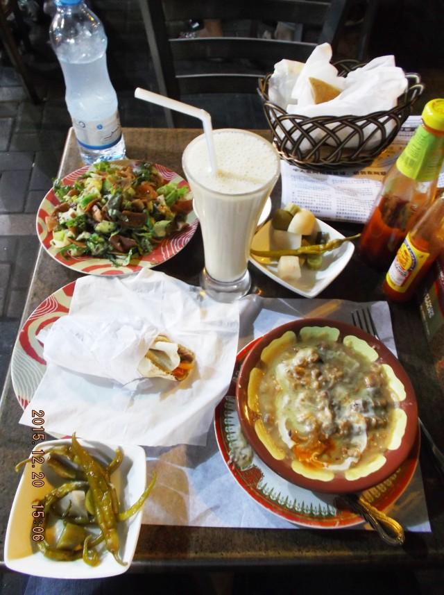 Dubai, United Arab Emirates (UAE) - Ful, Fattoush, Shwarma, Banana Shake, and Pickles