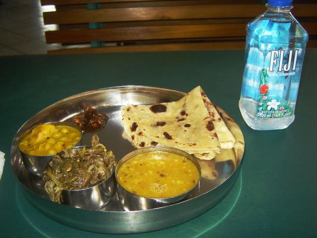 Suva, Fiji - Indian Thali with Fiji Water