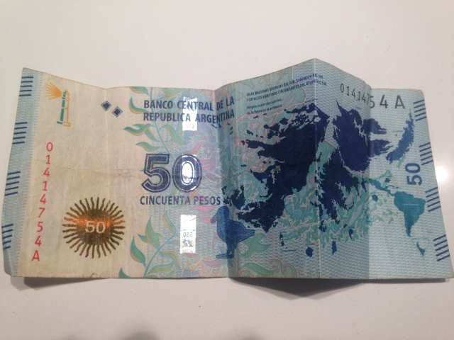 Argentina - Cincuenta Pesos (Fifty 50 Pesos) with Islas Malvinas aka the Falkland Islands